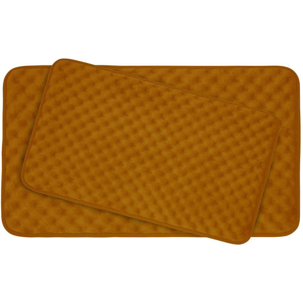 Massage Orange Memory Foam 2-Piece Bath Mat Set