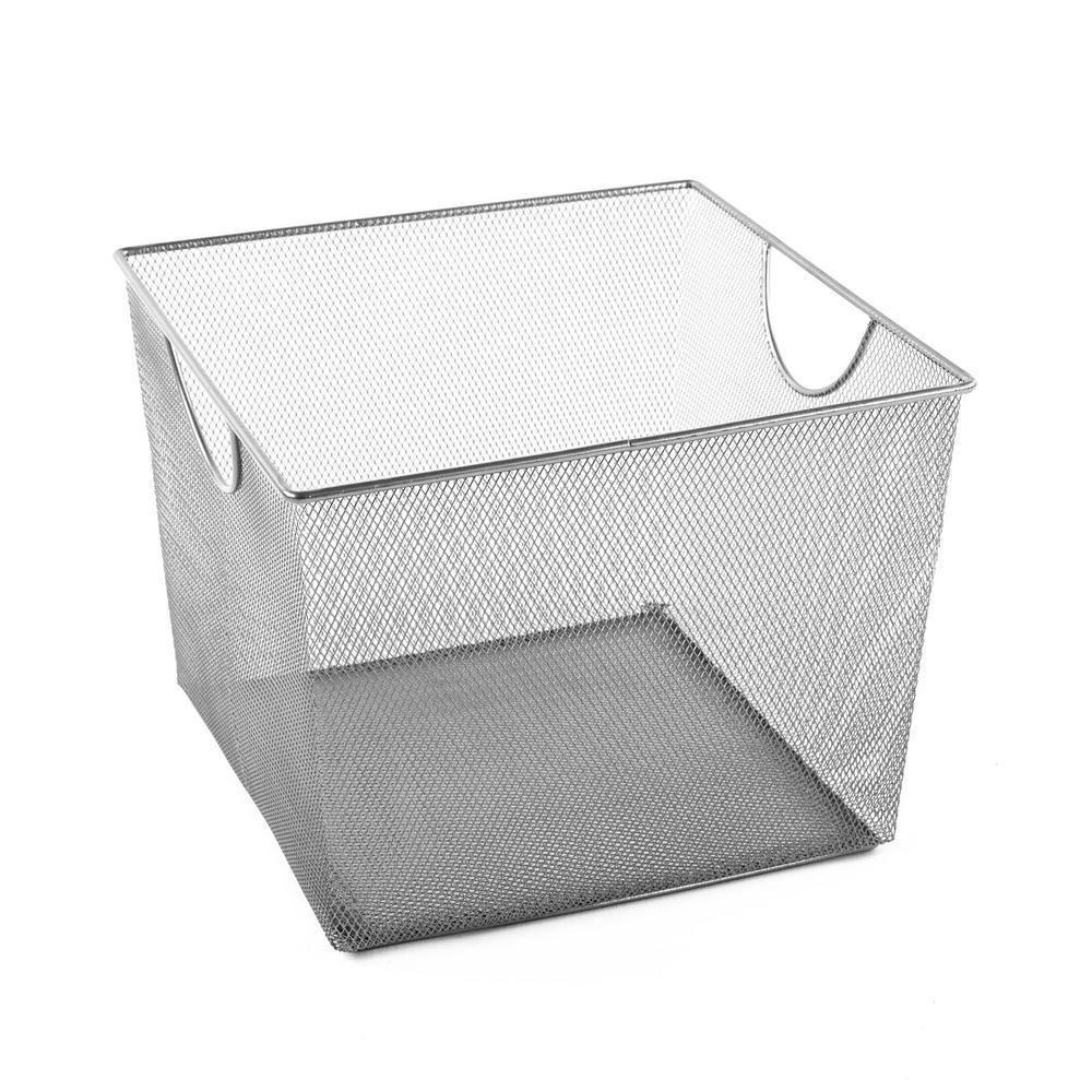 MeshWorks 30 Qt. Mesh Storage Bin in Silver