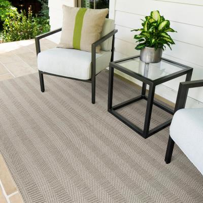 Bluebird Frost 10 ft. x 14 ft. Herringbone Indoor/Outdoor Area Rug