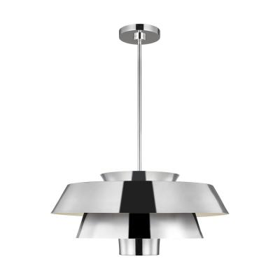 ED Ellen DeGeneres Crafted by Generation Lighting Brisbin 24 in. W 1-Light Polished Nickel 3-Tiered Shades Metal Pendant