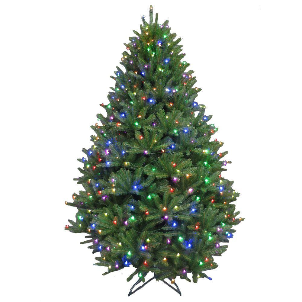 pre lit led california cedar artificial christmas tree with color changing rgb lights 2214101 cho the home depot - Christmas Trees With Lights