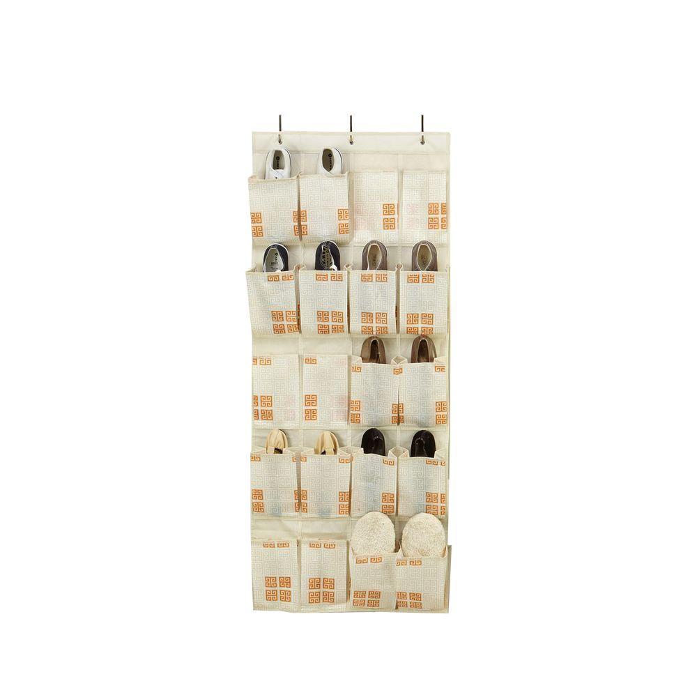 20-Pocket Polypropylene Shoe Organizer in Cameo Key Cream