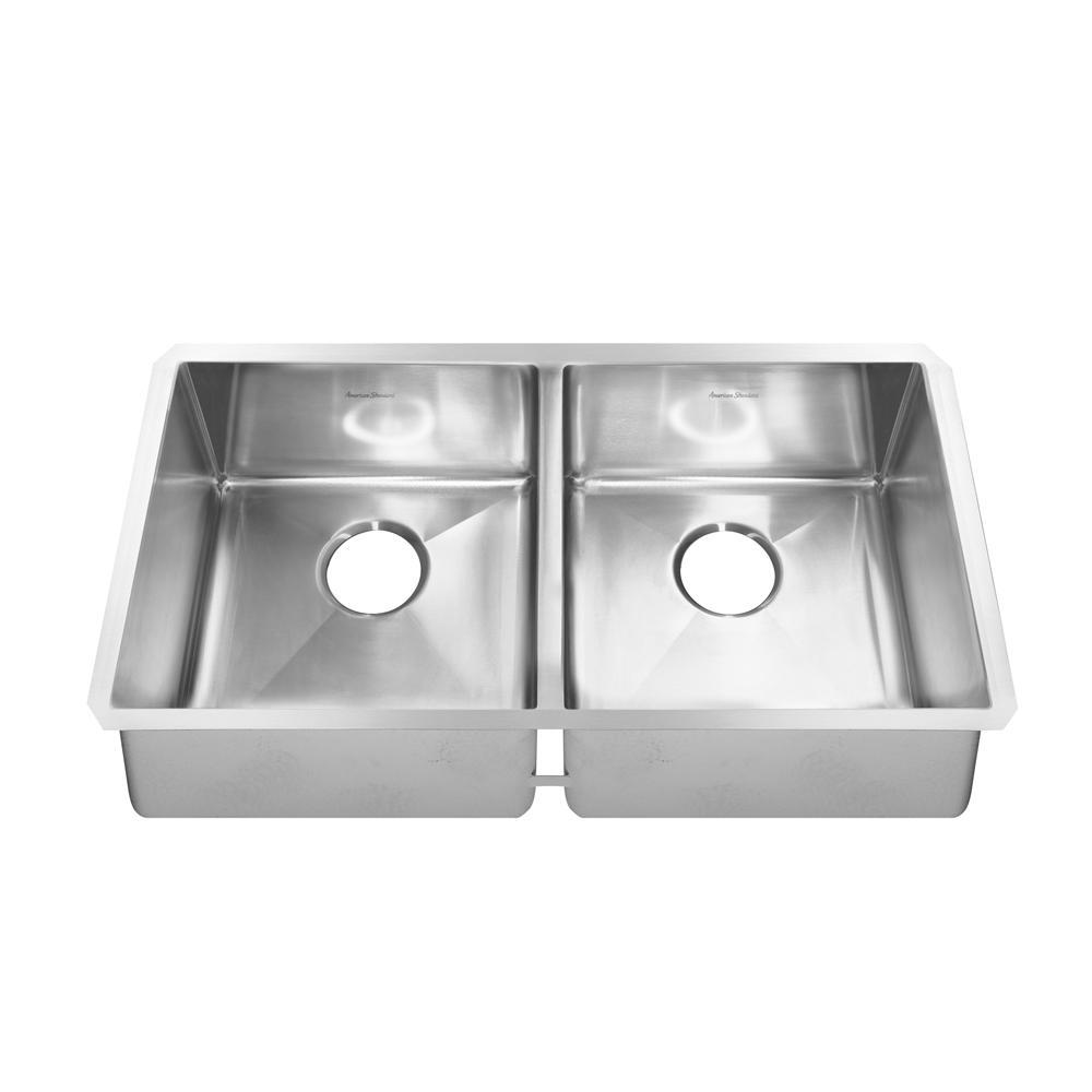 Pekoe Undermount Stainless Steel 35 in. Double Bowl Kitchen Sink Kit