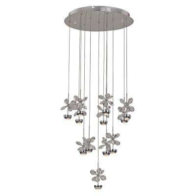 Floral Crystal 36-Watt Chrome Integrated LED Pendant