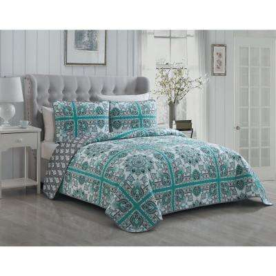 Della 3-Piece Mint/Grey King Quilt Set
