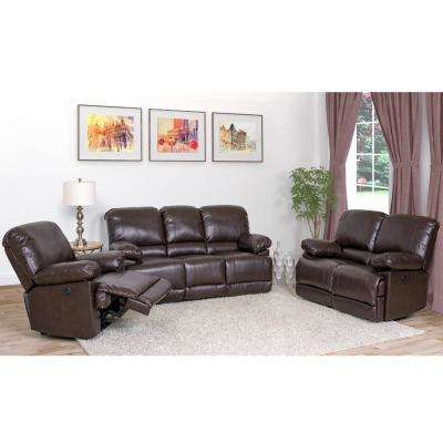 Lea 3-Piece Chocolate Brown Bonded Leather Power Recliner Sofa and Chair Set with USB Port