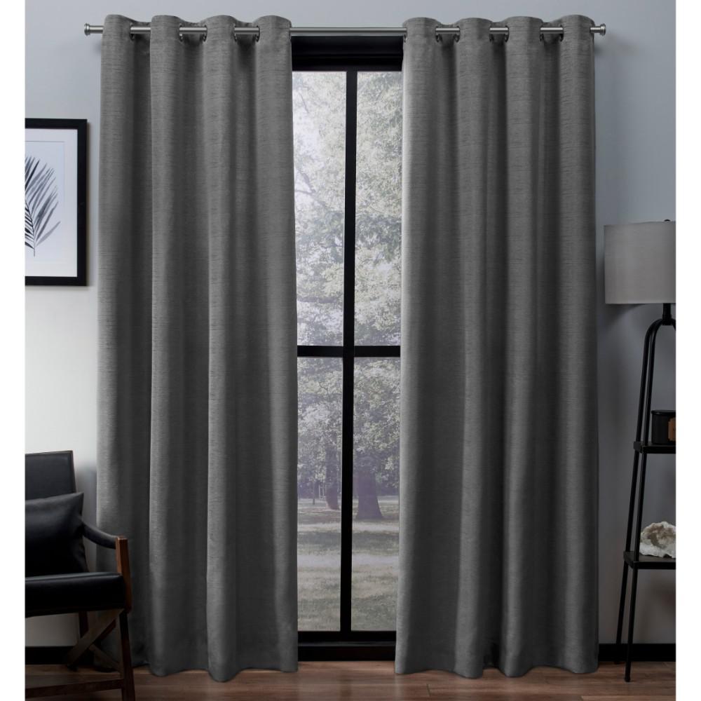 Virenze 54 in. W x 96 in. L Faux Silk Grommet Top Curtain Panel in Silver Cloud (2 Panels)