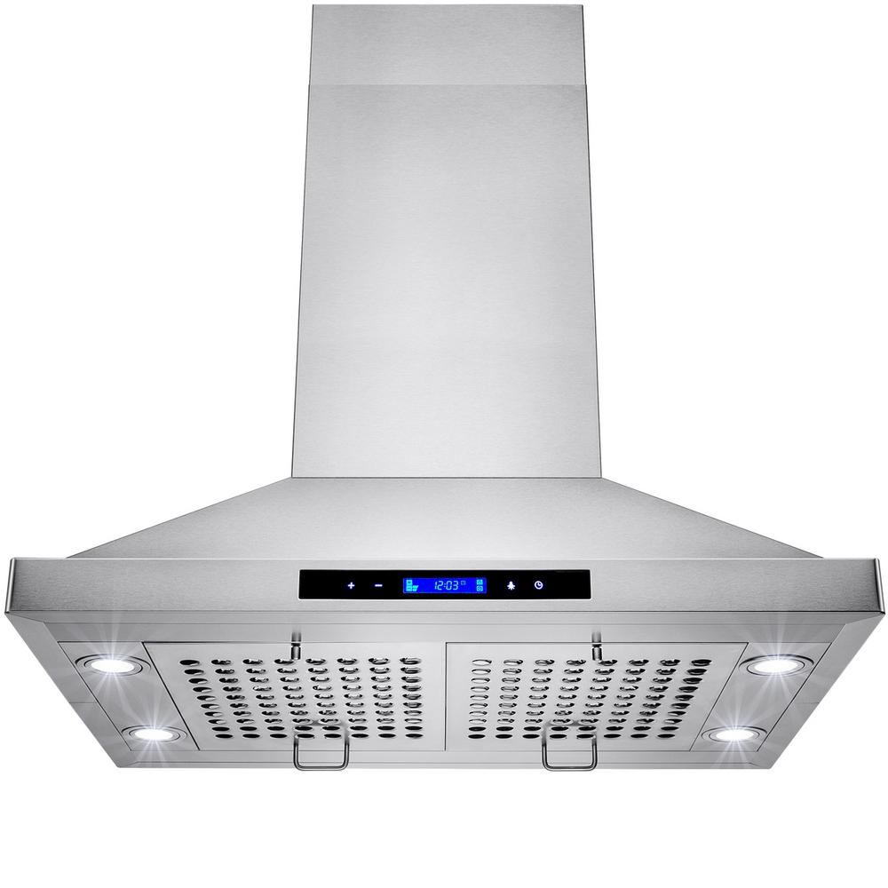 AKDY 30 in. Convertible Kitchen Island Mount Range Hood in Stainless ...
