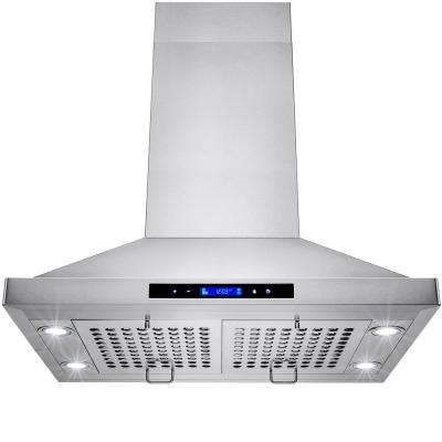 30 in. Convertible Kitchen Island Mount Range Hood in Stainless Steel with Touch Controls