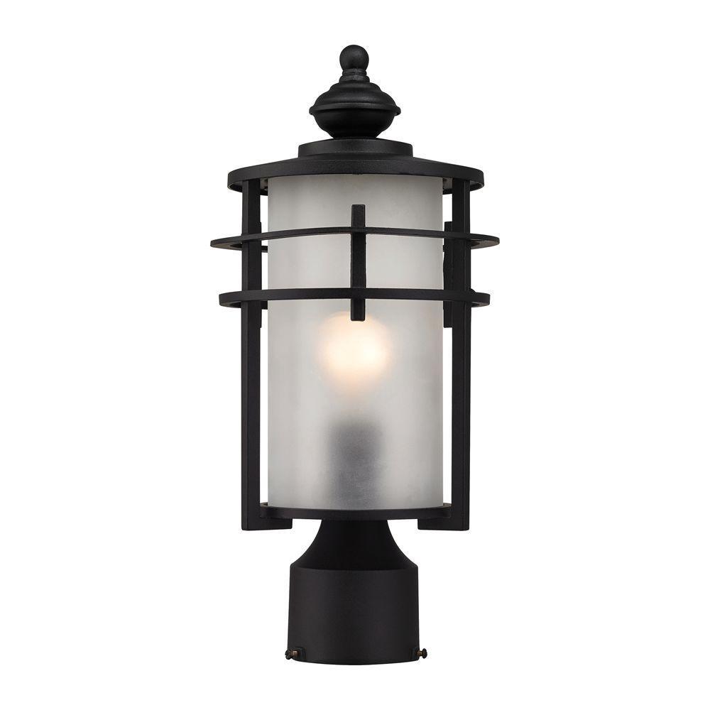 Meadowview 1-Light Matte Black Outdoor Post Lantern
