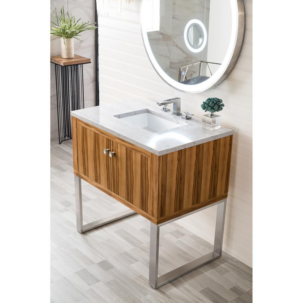 36 in. Single Bath Vanity in Natural Apple Wood with Quartz Vanity Top in Eternal Jasmine Pearl with White Basin