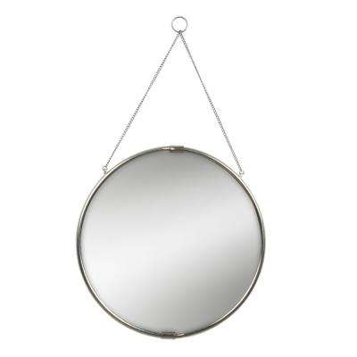 Brea Reclaimed Metal Round Silver Mirror with Hanging Chain 20 in. Dia Silver