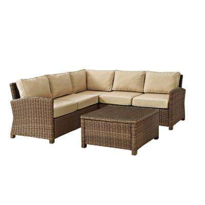Bradenton 4-Piece Wicker Outdoor Sectional Set with Sand Cushions