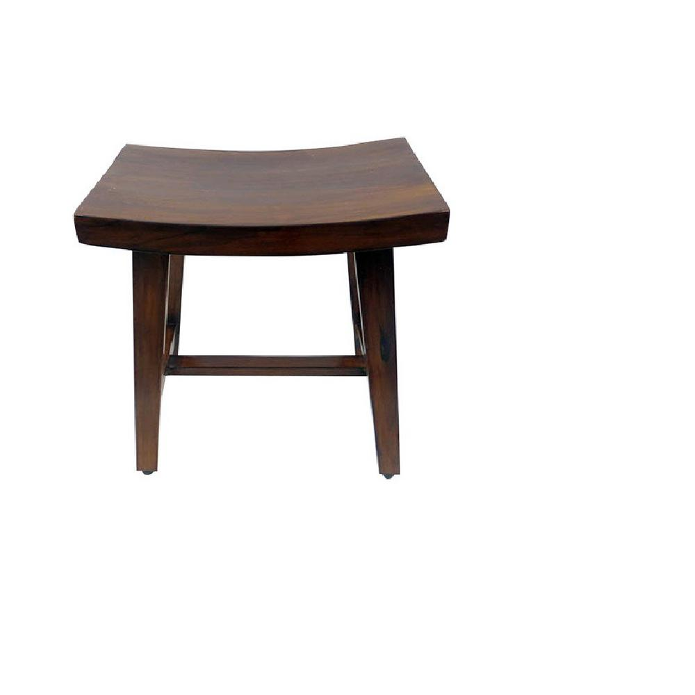 Mgp 16 In W X 18 In H X 11 In D Zen Curved Top Teak Stool With Rack