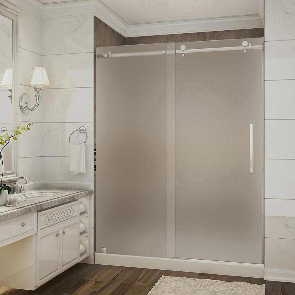 Aston Moselle 60 In. X 32 In. X 77.5 In. Completely Frameless Sliding Shower Door With Frosted