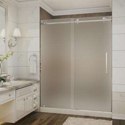Moselle 60 in. x 32 in. x 77.5 in. Completely Frameless Sliding Shower Door with Frosted Glass in Stainless Steel