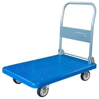 660 lbs. Capacity Heavy Duty Plastic Folding 4-Wheeled Platform Truck in Blue