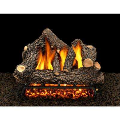 Classic Black Jack 30 in. Vented Natural Gas Fireplace Log Set with Complete Kit, Match Lit