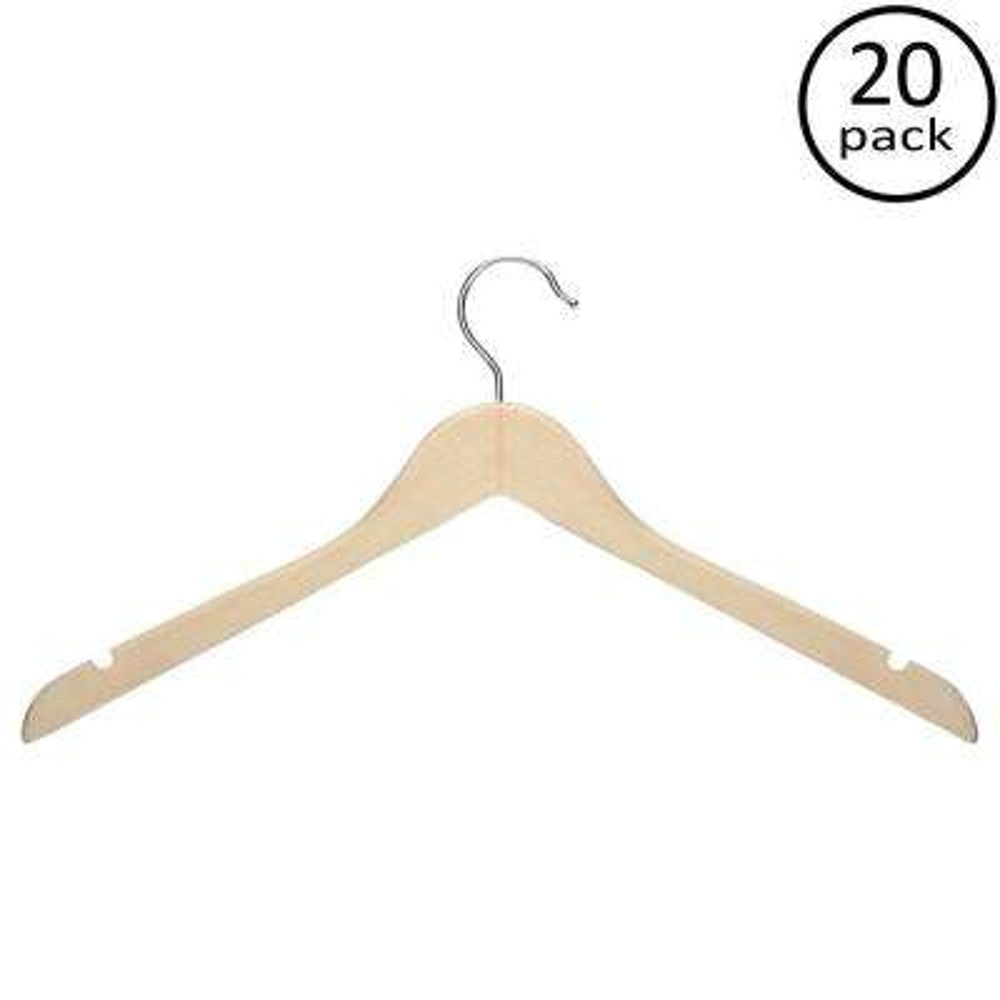 Maple Finish Basic Shirt Hanger (20-Pack)