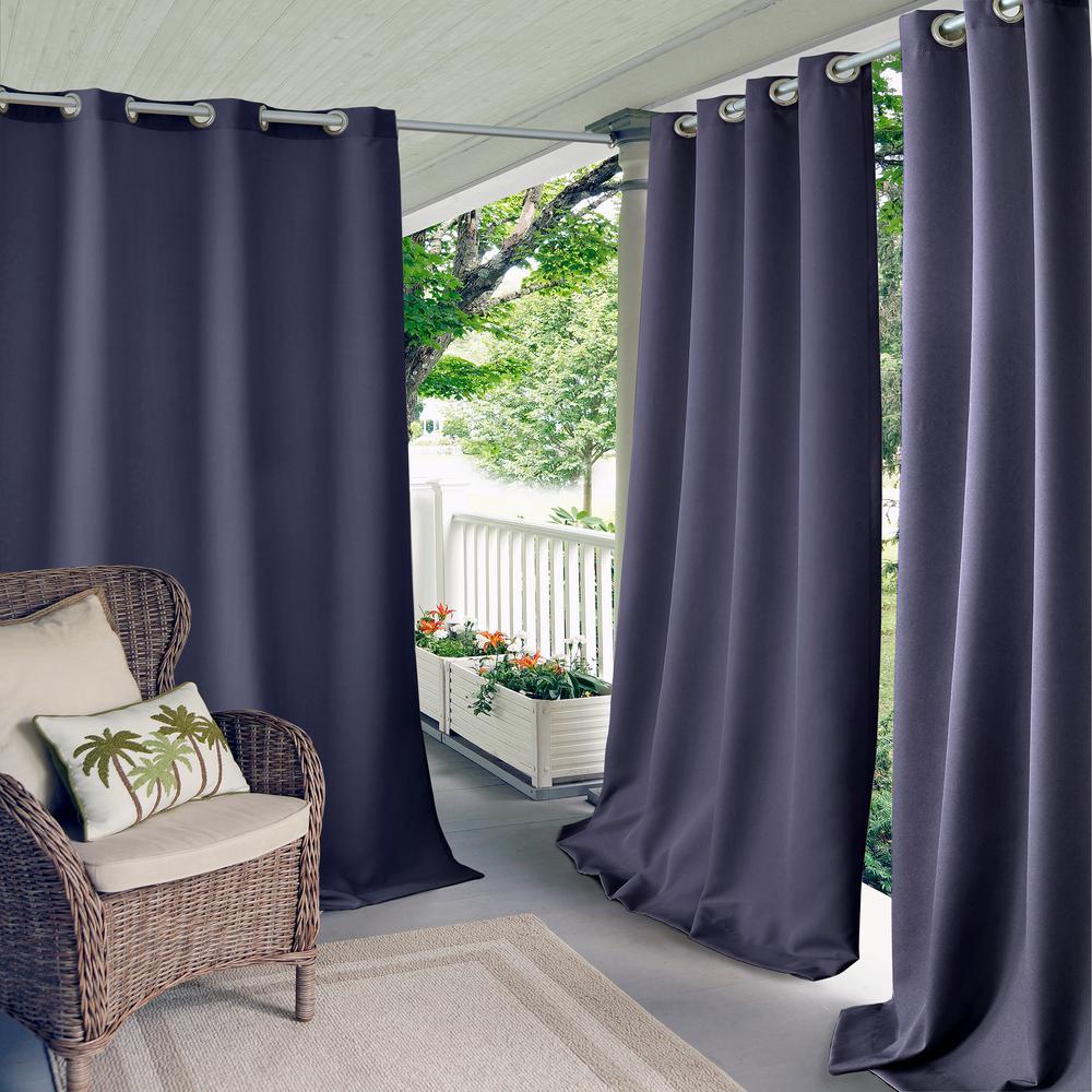 Semi-Opaque Connor 52 in. W x 108 in. L Indoor/Outdoor Solid Grommet Window Curtain Blue
