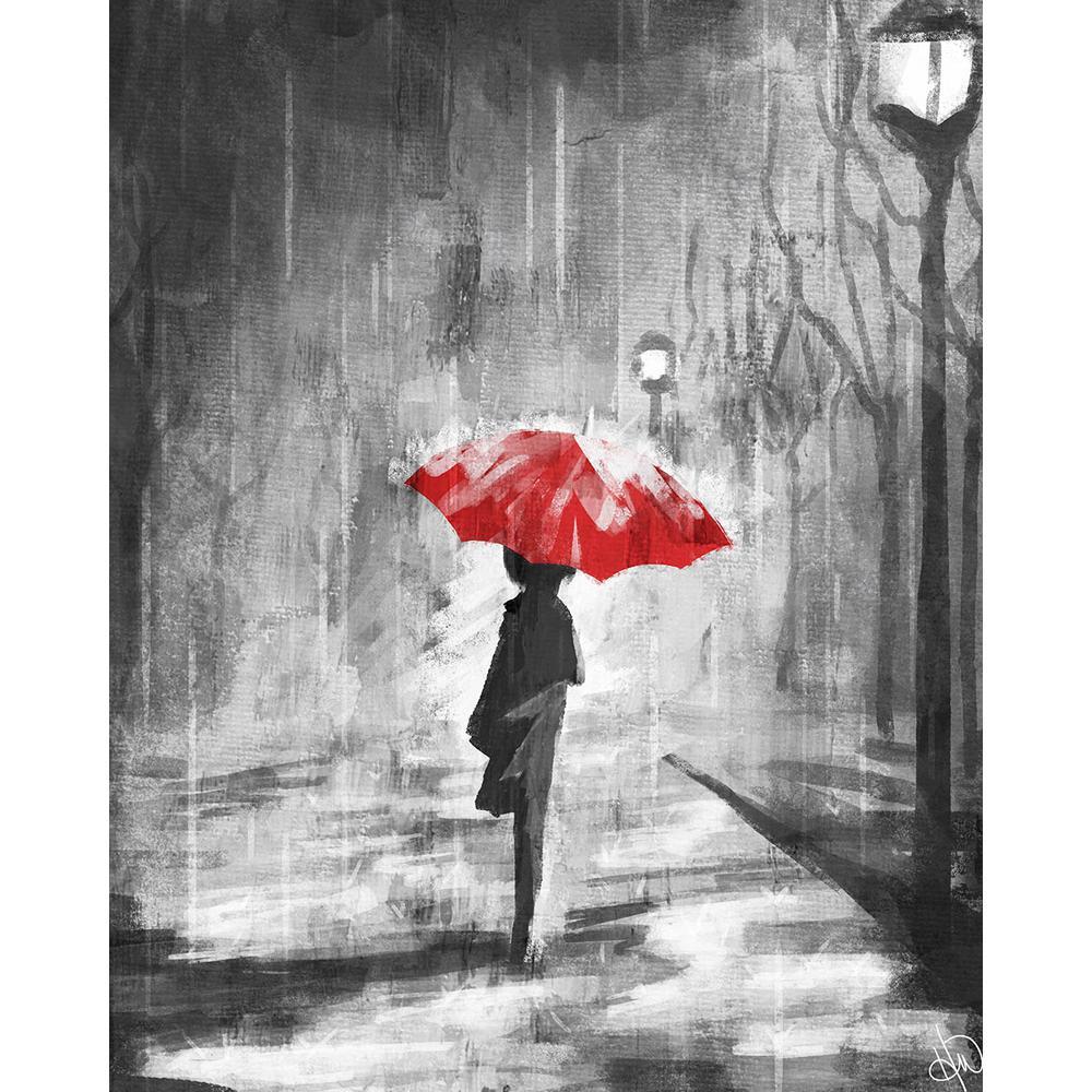 "16 in. x 20 in. ""A Rainy Walk Red Umbrella"" Acrylic Print Wall Art"