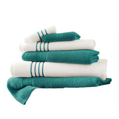 6-Piece Quick Dry Stripe Towel Set in Teal