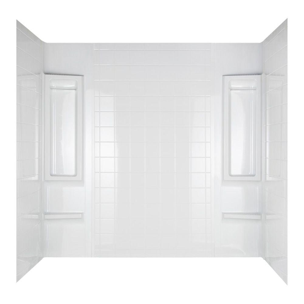 null Emphasis 32 in. x 60-1/2 in. x 58 in. Five Piece Easy Up Adhesive Tub Wall in White