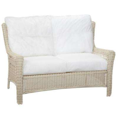 Park Meadows White Custom Wicker Outdoor Loveseat with Cushions Included, Choose Your Own Color