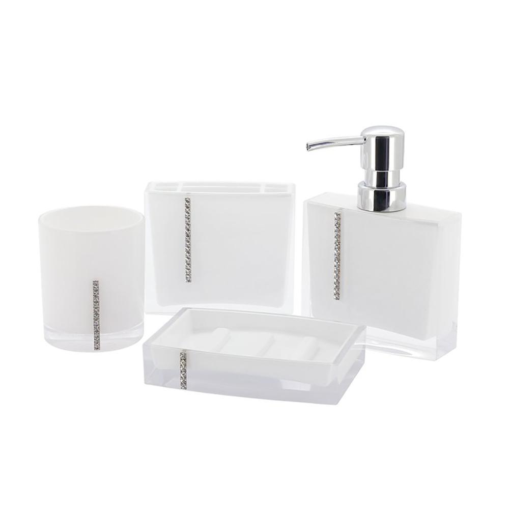 Cristal 4 piece bath accessory set in white hh 34447 white for Bathroom 4 piece set