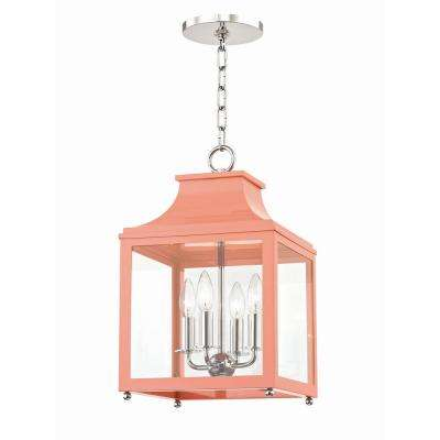 Leigh 4-Light 11.5 in. W Polished Nickel/Pink Pendant with Clear Glass Panel