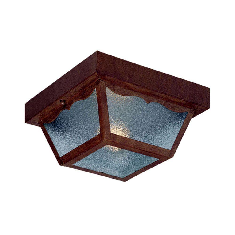 Builder's Choice Collection Ceiling-Mount 1-Light Burled Walnut Outdoor