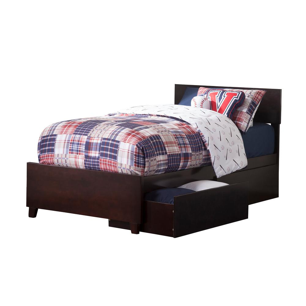 Atlantic Furniture Orlando Espresso Twin Xl Platform Bed With Matching Foot Board 2 Urban