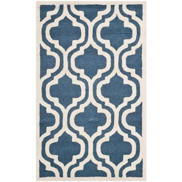 Safavieh Cambridge Navy Ivory 3 Ft X 5 Ft Area Rug Cam132g 3 The Home Depot
