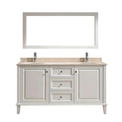 Lily 63 in. Vanity in White with Marble Vanity Top in Beige and Mirror