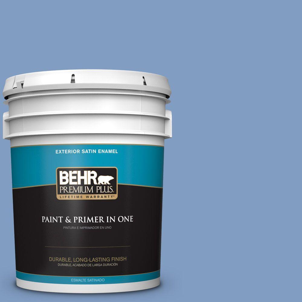 BEHR Premium Plus 5-gal. #M530-4 Washed Denim Satin Enamel Exterior Paint
