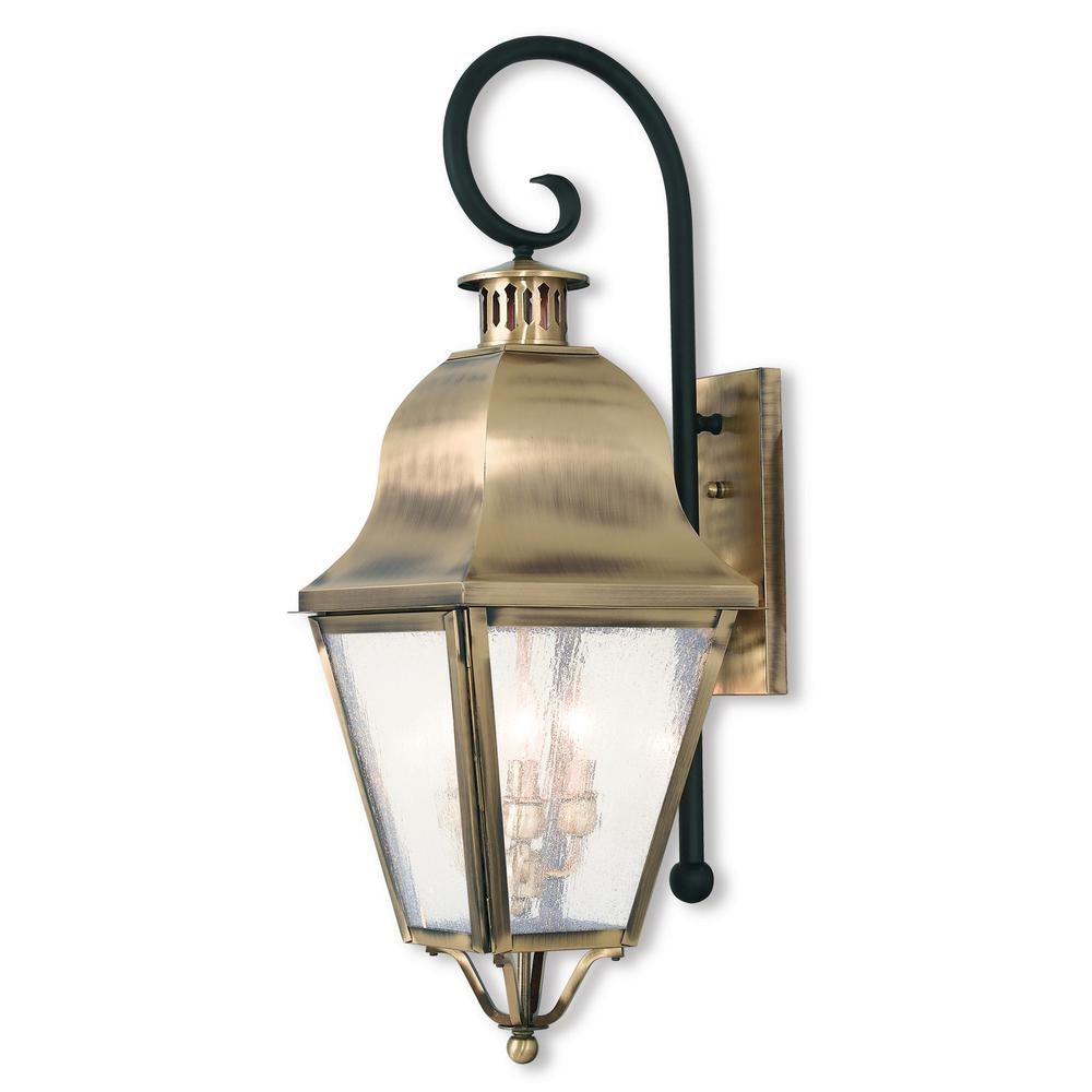 Amwell 3-Light Antique Brass Outdoor Wall Mount Lantern