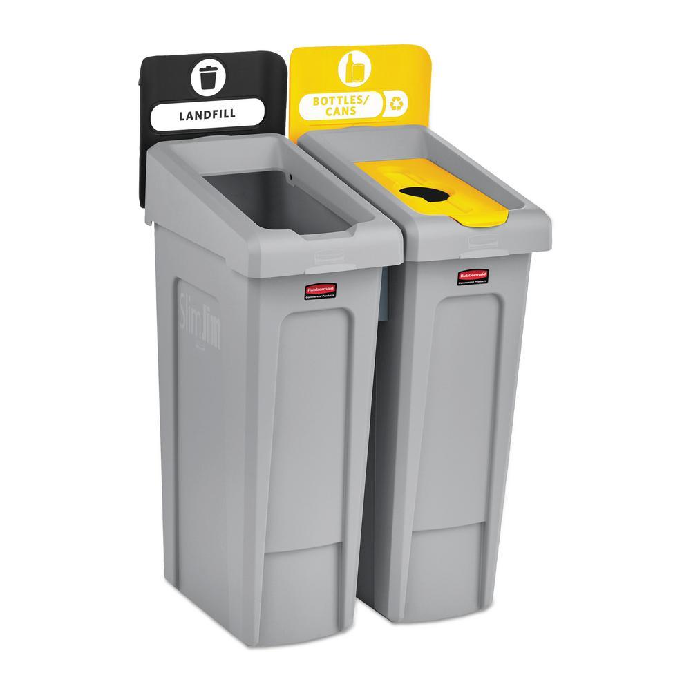 46 Gal. Slim Jim Recycling Station Kit, 2-Stream Landfill/Bottles/Cans