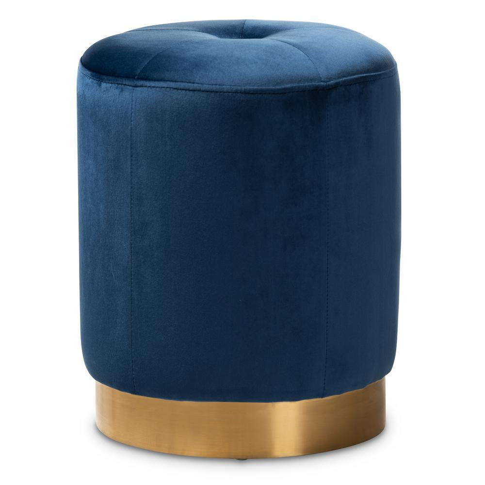 Alonza Navy Blue and Gold Ottoman