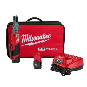 M12 FUEL 12-Volt Lithium-Ion Brushless Cordless 1/4 in. Ratchet Kit W/ (2) 2.0Ah Batteries, Charger & Tool Bag