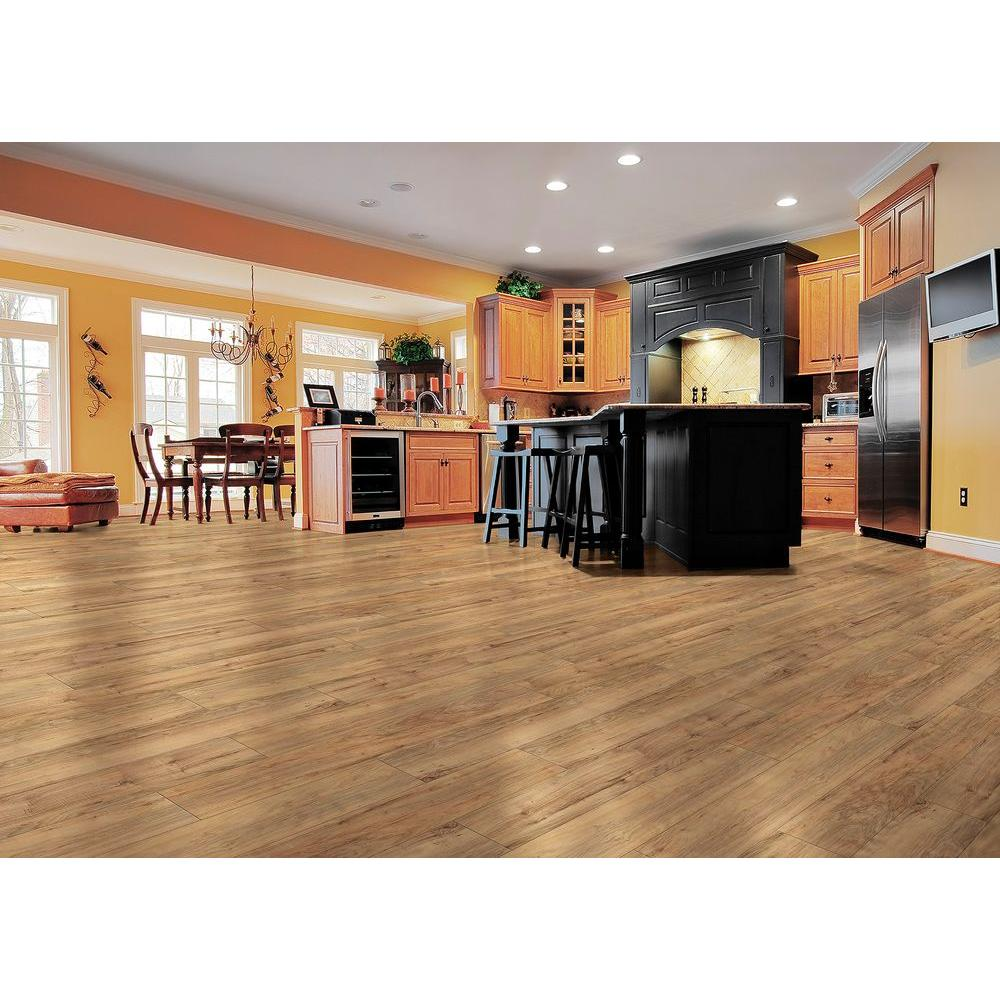 Trafficmaster Lakes Pecan 7 Mm Thick X 2 3 In Wide 50 5 8 Length Laminate Flooring 24 17 Sq Ft Case