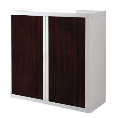 Paperflow easyOffice 41 in. Tall with 2-Shelves Storage Cabinet in White and Wenge
