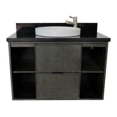 Scandi III 37 in. W x 22 in. D Wall Mount Bath Vanity in Gray with Granite Vanity Top in Black with White Round Basin