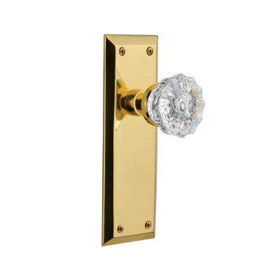 New York Plate Single Dummy Crystal Glass Door Knob in Polished Brass
