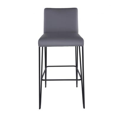 Amelia 39.77 in Dark Gray with Leatherette over Foam Bar Stool