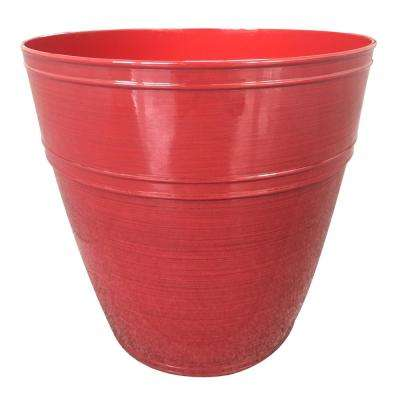 Rosemary 12.1 in. dia. Chili Resin Planter Fits 12in. Drop N'Bloom