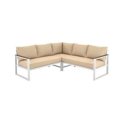 West Park White Aluminum Outdoor Patio Sectional Sofa Seating Set with Sunbrella Beige Tan Cushions