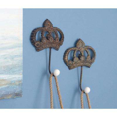 6 in. Distressed Brown and White Iron Metal Crown Wall Hooks (Set of 4)