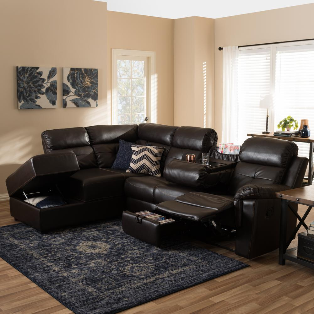 Roland 2-Piece Contemporary Brown Faux Leather Upholstered Left Facing Chase