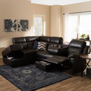 Baxton Studio Roland 2-Piece Contemporary Brown Faux Leather Upholstered Left Facing Chase Sectional Sofa by Baxton Studio