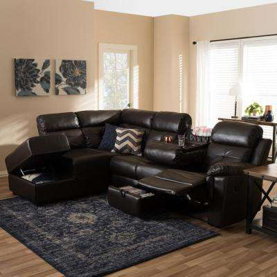 Roland 2-Piece Contemporary Brown Faux Leather Upholstered Left Facing Chase Sectional Sofa
